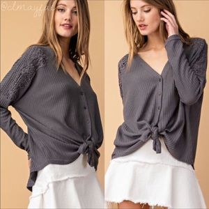 Tops - Waffle Tie Knit Charcoal Grey Top. Just in! NWT
